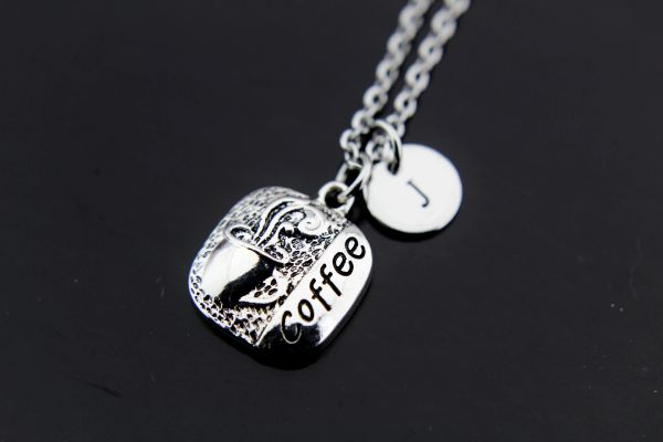 Silver Coffee Charm Necklace
