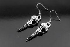 Bird Skull Earrings, Silver Bird Skull Charm Dangle Earrings