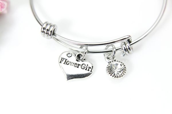 Silver Flower Girl Charm Bracelet, Personalized Bracelet