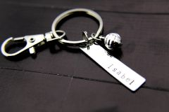 Silver Volleyball Charm Keychain