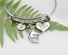 Silver Unicorn Charm Bracelet, Best Friends Charm Bracelet, Expandable Bangle, Initial Bracelet, Monogram
