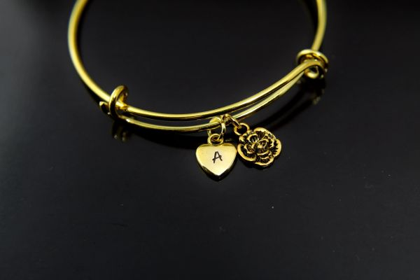 Gold Rose Charm Bracelet Personalized Bracelet