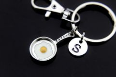 Silver Frying Pan with Egg Charm Keychain Personalized Keychain