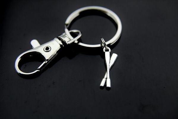 Rowing Keychain Silver Oar Charm Keychain