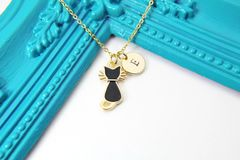 Gold Black Cat Necklace, Personalized Necklace