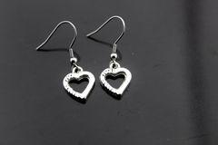 Silver Heart Charm Dangle Earrings