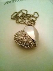 Ladies Half Sequin Silver Heart