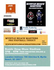 Myrtle Beach Master's Pro Football Tryout - Register Here