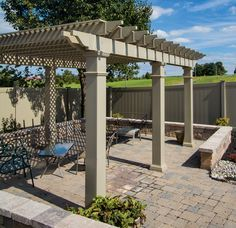 Clay Classic Free Standing Vinyl Pergola Kit 12' Wide x 10' Projection
