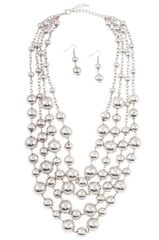 Silver Cluster Multi Row Bead Necklace Set