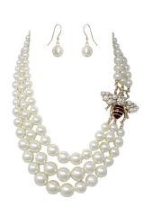 Bumble Bee Pearl Multi Strand Necklace Set