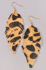 Mohair Leopard Leaf Earrings