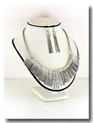 Silver Fringe Necklace Set