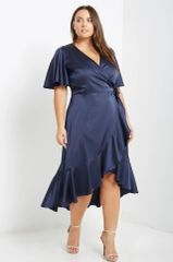 Satin Navy Ruffled Wrap Dress