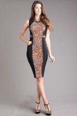 Leopard and Black Sleeveless Sheath Dress
