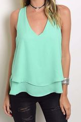 Mint Layered Ruffle Tank