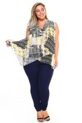 Abstract Print Front Overlay V-Neck Blouse