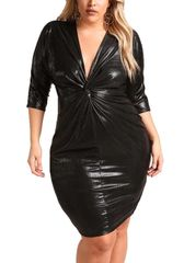 Shimmer Knotted Front BodyCon Dress