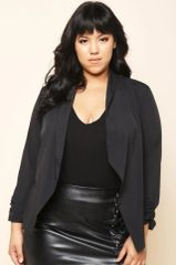 Lightweight Curvy Black Drape Jacket