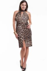 Leopard Hook Sleeveless Empire Neck Sheath Dress