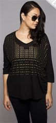 Black V-Neck Bronze Studded Top