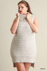 Sleeveless Fringe Turtleneck Sweater Dress