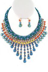 Teal Multi Stone Bib Necklace Set