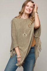 Olive Striped Knit Tassel Poncho