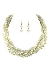 Pearl Twisted Strand Necklace Set