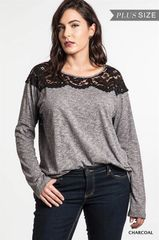 Black Lace Gray Long-Sleeve Tee