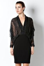 "Sheer Blouson Drape Top ""LBD"" Little Black Dress"