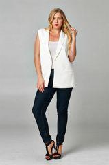 White Sleeveless Jacket with Sheer Back
