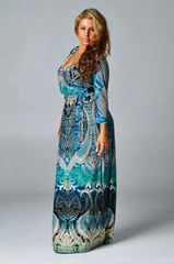 Curvy Teal Paisley Printed Maxi Faux Wrap Dress