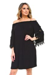 Black Knit Off-Shoulder Tunic Dress