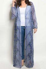 Blue Multi Printed Long Kimono