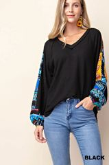 Black Waffle Knit with Printed Sleeves