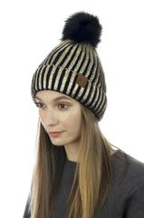 Metallic Ribbed Pom Pom Beanie