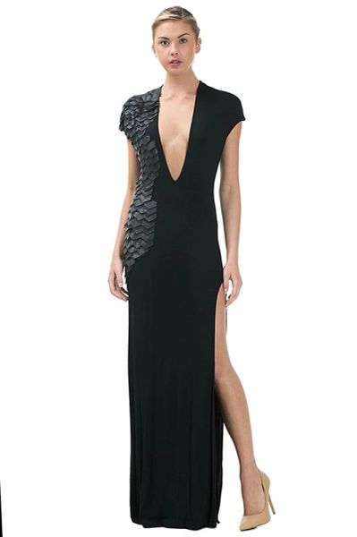 Long Black Laser Cut Deep V Maxi Dress With Faux Leather Scales A