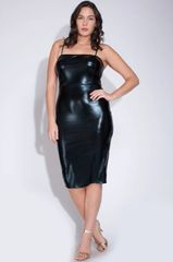 Curvy Black Liquid Patent Leather Tank Dress