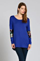 Royal Blue Sequin Sleeve Tunic