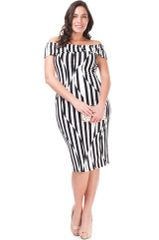 Black and White Off-Shoulder Strip Midi Dress