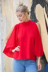 Red Cold Shoulder Flare Top
