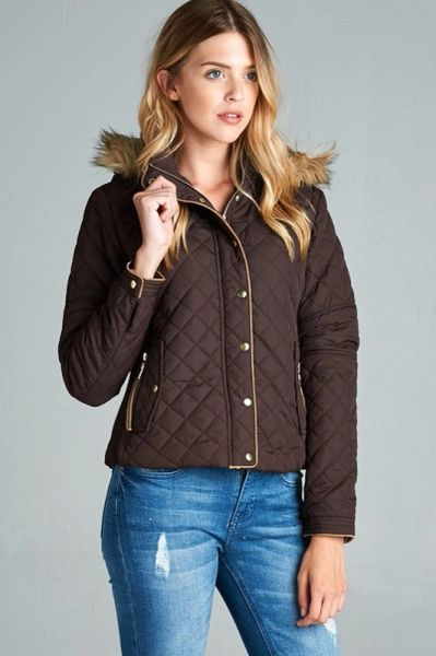 Chocolate Quilted Puffer Jacket With Faux Fur Detail On Hood