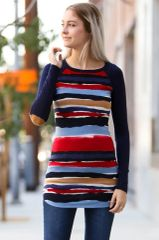 Wavy Stripe Tunic with Elbow Patch Detail