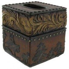Wood Flower Cowboy Tissue Box Cover