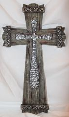Wooden with Metal Wall Cross