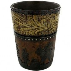 Wood Flower Cowboy Waste Basket