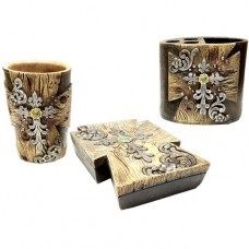 Wood Look w/ Flower 3pc Bathroom Set