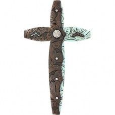 Brown with Turquoise Tooled Cross
