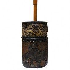 Wood Flower Cowboy Toilet Brush Holder